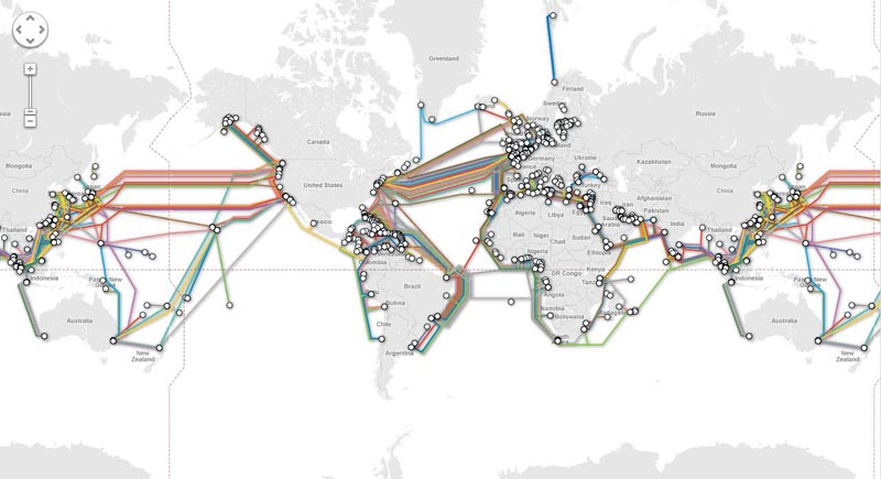 undersea submarine cable network worlwide The Undersea Cables that Connect the World