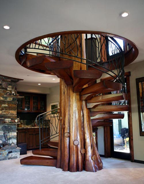 A giant gallery of unique staircase designs twistedsifter for Spiral stair design