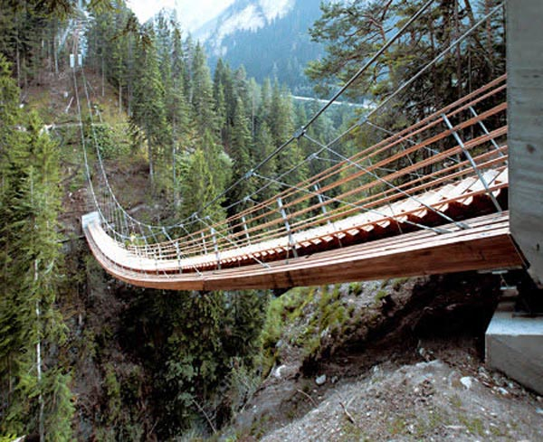 suspension bridge with stairs