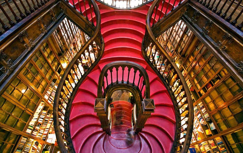 famous lello bookshop in porto portugal stairs from above
