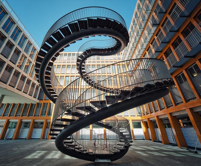 Umschreibung (Rewriting) staircase sculpture by olafur eliasson