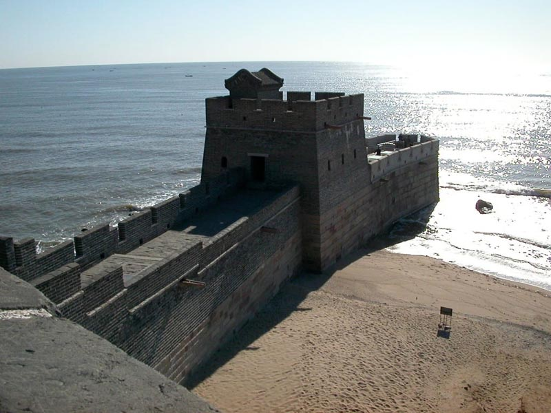 end of the great wall of china in the east at shanhai pass in shanhaiguan china