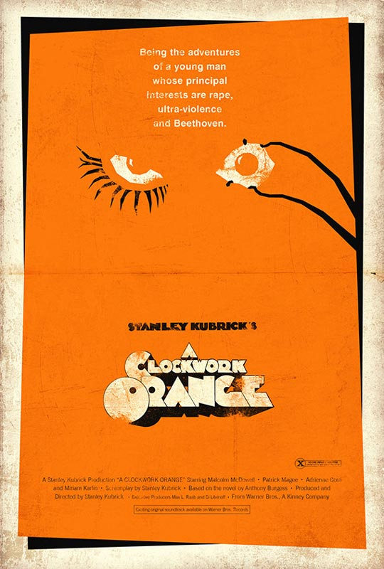 a clockwork orange alternate movie poster by adam rabalais Creative Alternate Movie Posters by Adam Rabalais