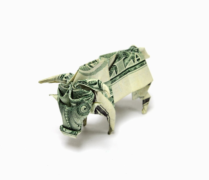 bull made from dollar bill origami by won park Amazing Origami Using Only Dollar Bills