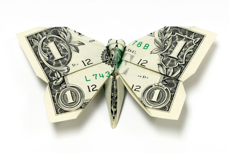 butterfly made from dollar bill origami by won park Amazing Origami Using Only Dollar Bills