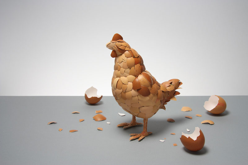 chicken made of egg shells kyle bean 17 Playful Doodles that Incorporate Everyday Objects