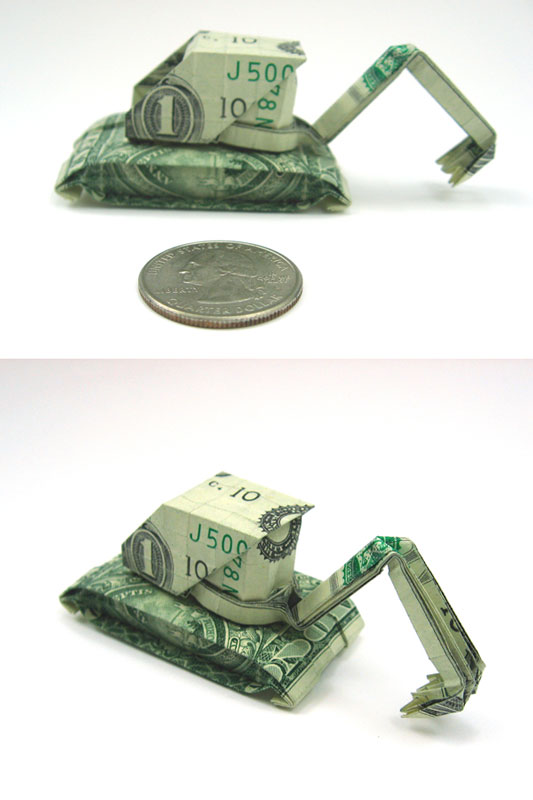 digger made from dollar bill origami by won park Amazing Origami Using Only Dollar Bills