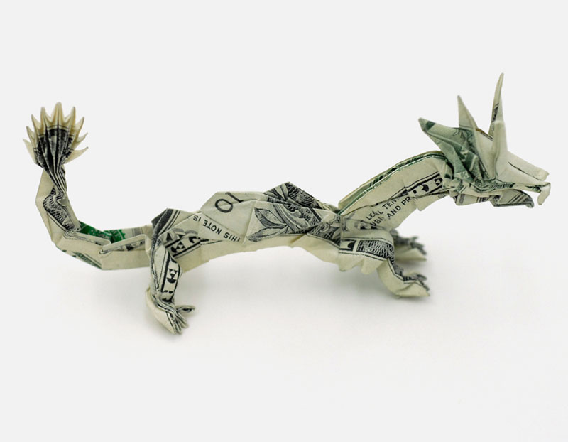 dragon made from dollar bill origami by won park Amazing Origami Using Only Dollar Bills