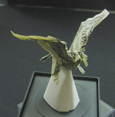 eagle made from dollar bill origami by won park Amazing Origami Using Only Dollar Bills