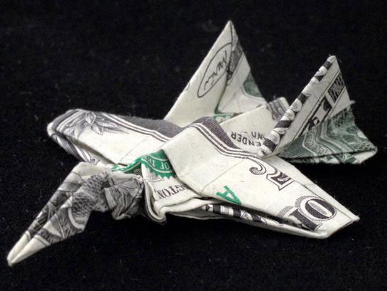 fighter jet made from dollar bill origami by won park Amazing Origami Using Only Dollar Bills