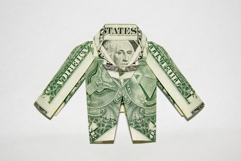 jacket made from dollar bill origami by won park Amazing Origami Using Only Dollar Bills