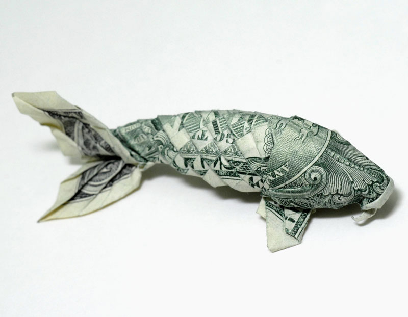 koi fish made from dollar bill origami by won park Artworks Made from a Creased Sheet of Paper