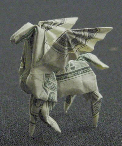 pegasus made from dollar bill origami by won park Amazing Origami Using Only Dollar Bills