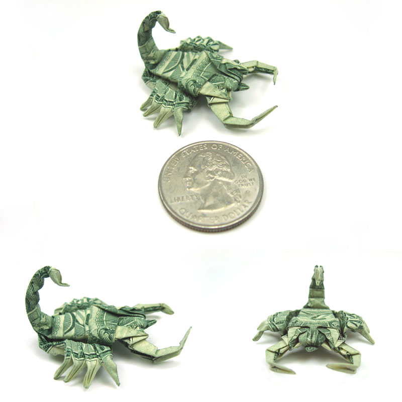 scorpion made from dollar bill origami by won park Amazing Origami Using Only Dollar Bills