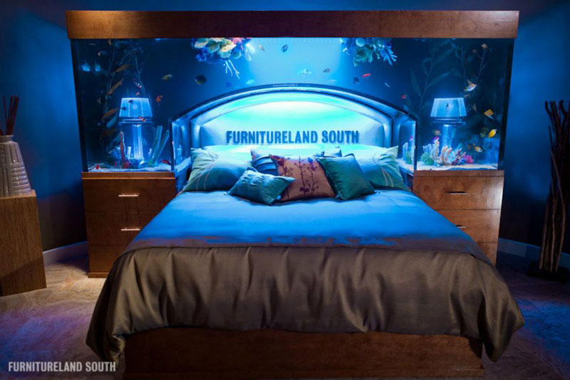 fish tank headboard above bed furnitureland south 6 Cool Custom Fish Tank Headboard for your Bed