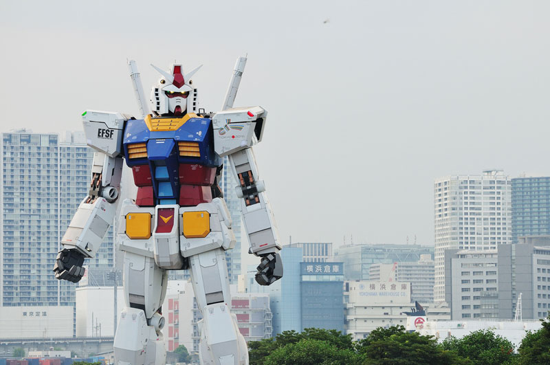 A Full Scale Gundam Model in Japan