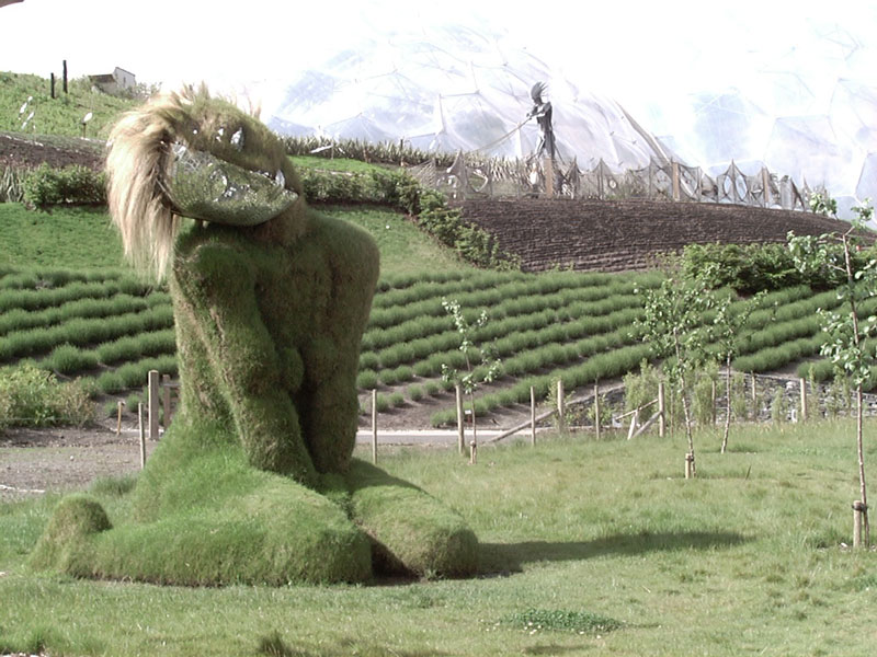 grasswoman sculpture eden project art The Largest Greenhouse in the World