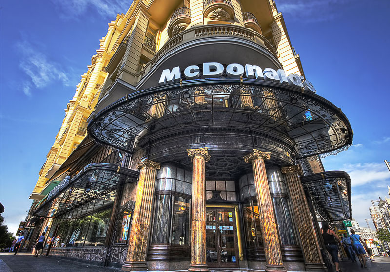 mcdonalds on spanish broadway gran via madrid The Most Unusual McDonalds Locations in the World