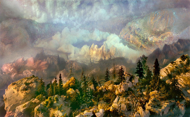 mini landscapes inside a tank that looks like paintings kim keever 1 Breathtaking Oil Paintings Using Only a Palette Knife