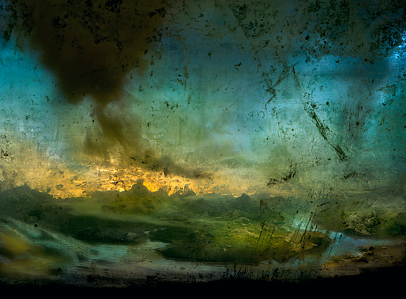 mini landscapes inside a tank that looks like paintings kim keever 3 Amazing Model Landscapes That Look Like Paintings