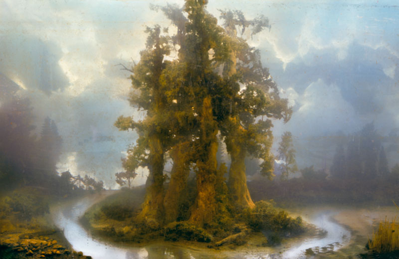 mini landscapes inside a tank that looks like paintings kim keever 4 Amazing Model Landscapes That Look Like Paintings