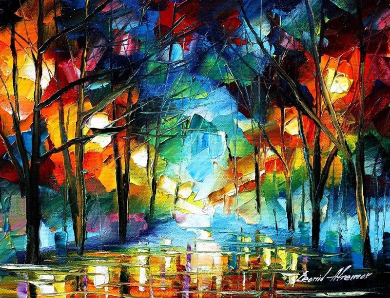 oil painting using only a paltete knife leonid afremov 1 Breathtaking Oil Paintings Using Only a Palette Knife