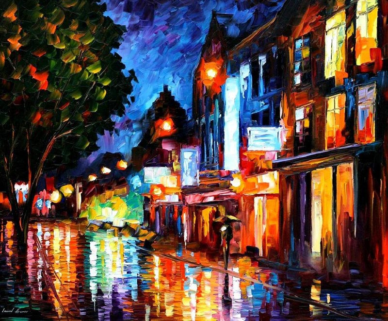oil painting using only a paltete knife leonid afremov 10 oil paintings using only a - Oil Painting