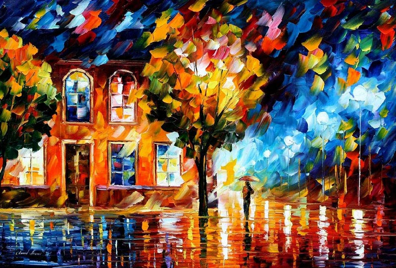 oil painting using only a paltete knife leonid afremov 12 Breathtaking Oil Paintings Using Only a Palette Knife