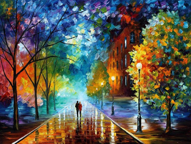 oil painting using only a paltete knife leonid afremov 13 Breathtaking Oil Paintings Using Only a Palette Knife
