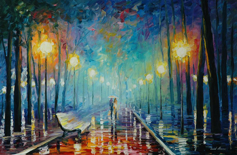 oil painting using only a paltete knife leonid afremov 15 Breathtaking Oil Paintings Using Only a Palette Knife