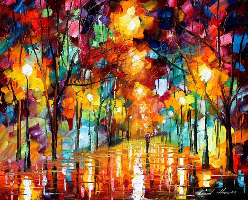 oil painting using only a paltete knife leonid afremov 2 Breathtaking Oil Paintings Using Only a Palette Knife