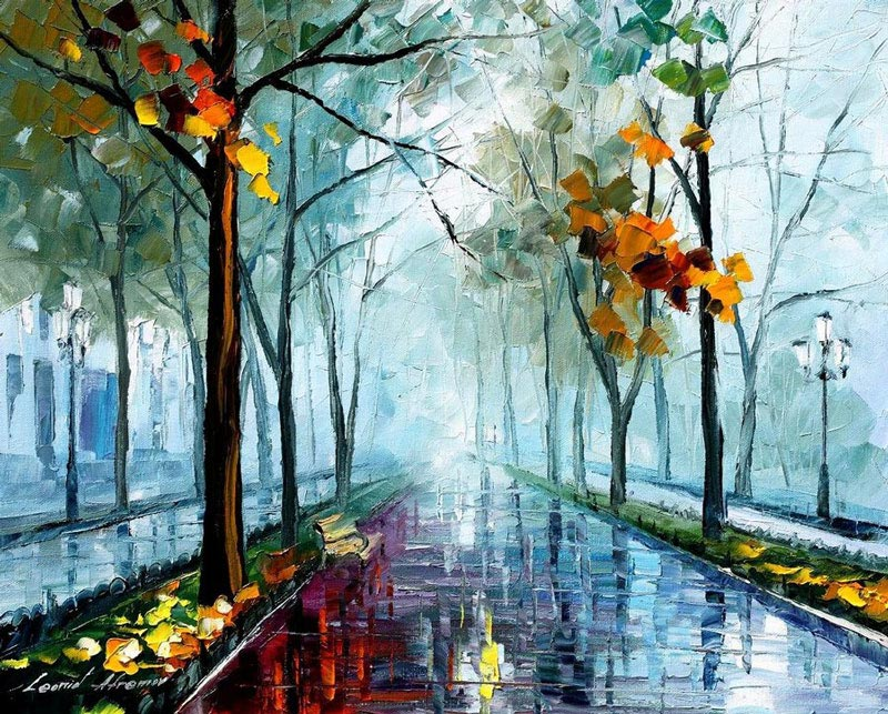 oil painting using only a paltete knife leonid afremov 4 Breathtaking Oil Paintings Using Only a Palette Knife