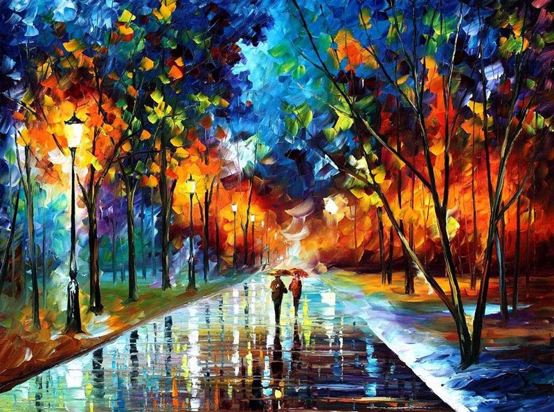oil painting using only a paltete knife leonid afremov 7 Splatter Portraits by Hua Tunan