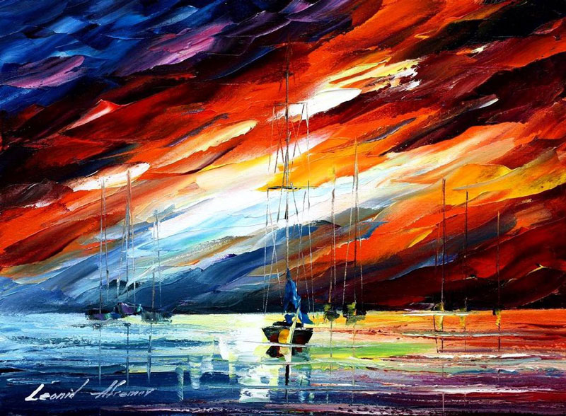 oil painting using only a paltete knife leonid afremov 8 Breathtaking Oil Paintings Using Only a Palette Knife