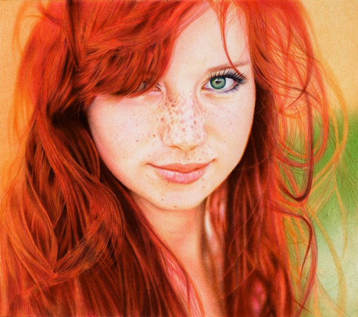 redhead girl   ballpoint pen by vianaarts An Artist Drew These With Just A Pencil