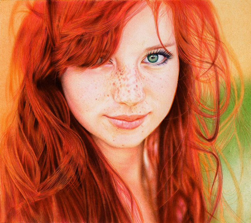 redhead girl   ballpoint pen by vianaarts Adonna Khares Amazing 288 sq ft Elephants Mural Drawn by Pencil