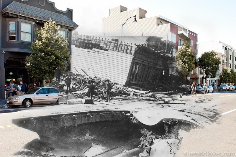 san francisco earthquake photos blended into present day 10 San Francisco Earthquake Photos Blended Into Present Day