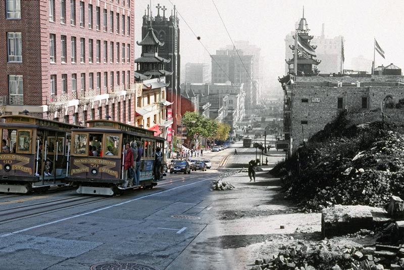 san francisco earthquake photos blended into present day 2 Ghosts of War: WWII Photos Blended Into Present Day