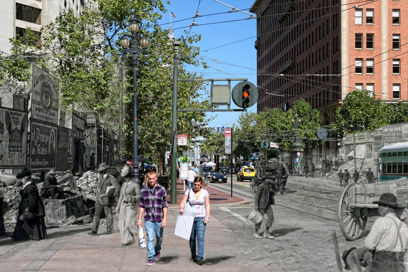 san francisco earthquake photos blended into present day 4 San Francisco Earthquake Photos Blended Into Present Day