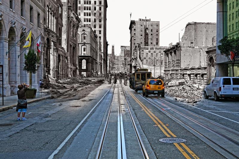 san francisco earthquake photos blended into present day 6 San Francisco Earthquake Photos Blended Into Present Day