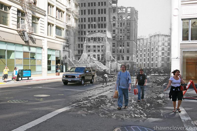 san francisco earthquake photos blended into present day 7 San Francisco Earthquake Photos Blended Into Present Day