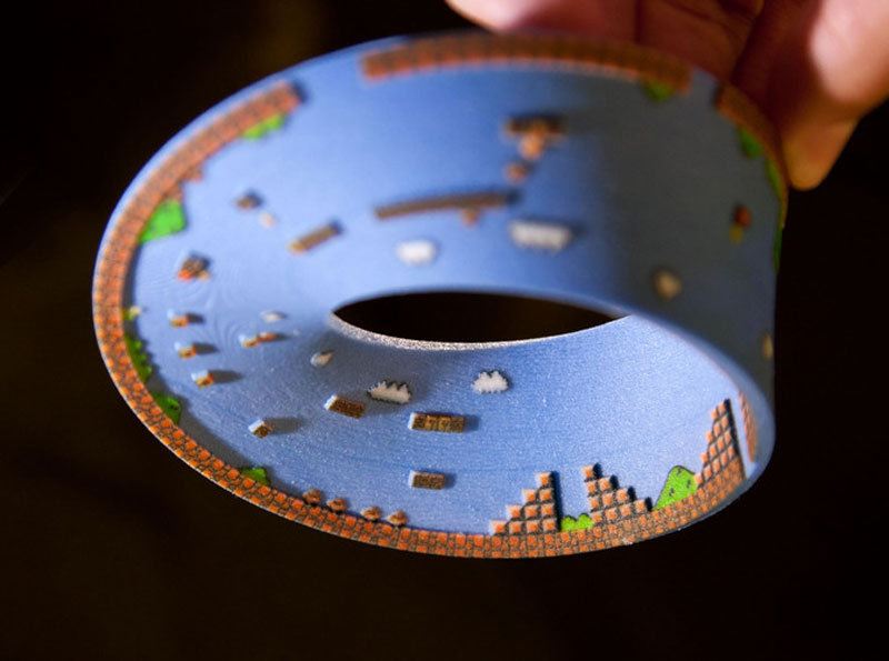 super mario mobius strip first level 10 3D Printed Mobius Strip of the 1st Level of Super Mario Bros