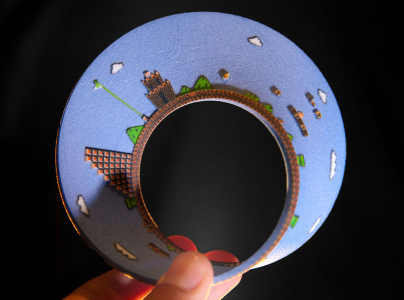 3d Printed Mobius Strip Of The 1st Level Of Super Mario