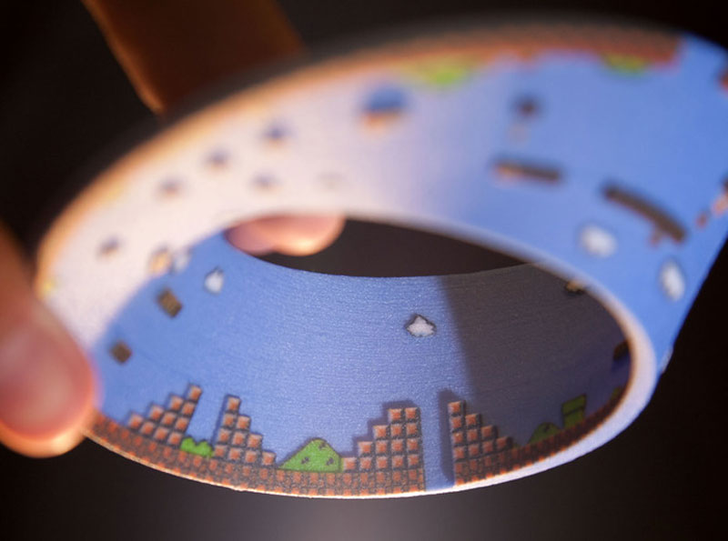 super mario mobius strip first level 9 3D Printed Mobius Strip of the 1st Level of Super Mario Bros