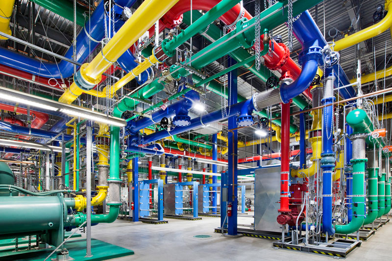colorful pipes are responsible for carrying water in and out of our oregon data center the blue pipes supply cold water and the red pipes return the warm water back to be cooled A Photo Tour of Google Data Centers Around the World