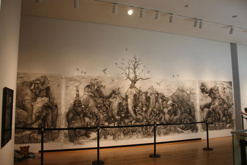 elephants mural adonna khare 1 Adonna Khares Amazing 288 sq ft Elephants Mural Drawn by Pencil
