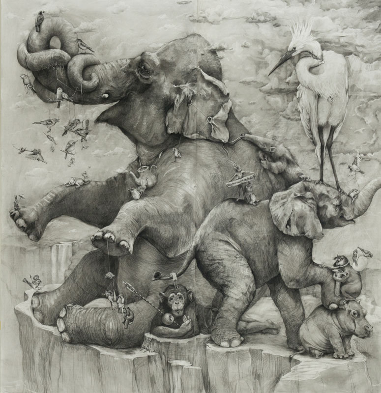 elephants mural adonna khare 13 Adonna Khares Amazing 288 sq ft Elephants Mural Drawn by Pencil