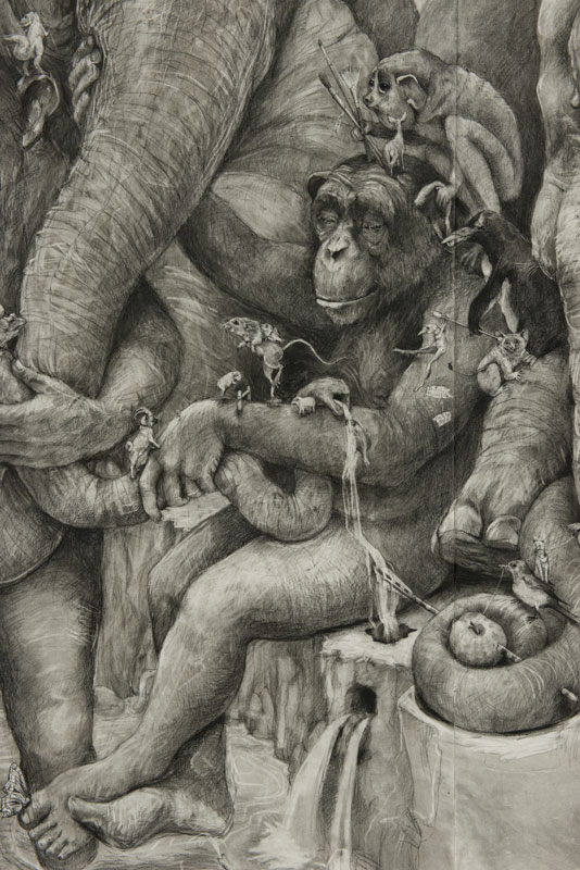 elephants mural adonna khare 14 Adonna Khares Amazing 288 sq ft Elephants Mural Drawn by Pencil