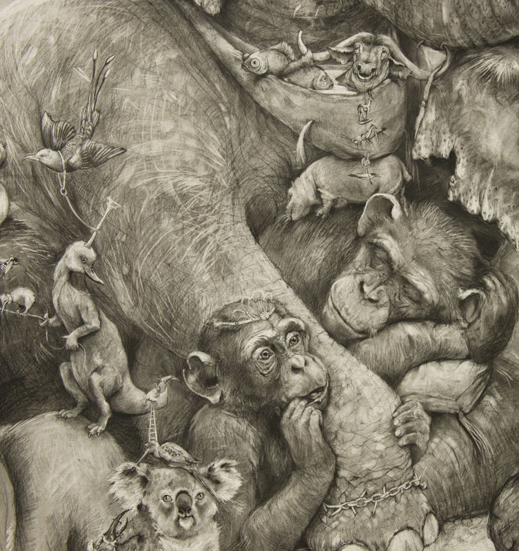 elephants mural adonna khare 15 Adonna Khares Amazing 288 sq ft Elephants Mural Drawn by Pencil