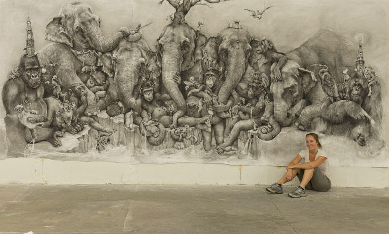 elephants mural adonna khare 5 Adonna Khares Amazing 288 sq ft Elephants Mural Drawn by Pencil